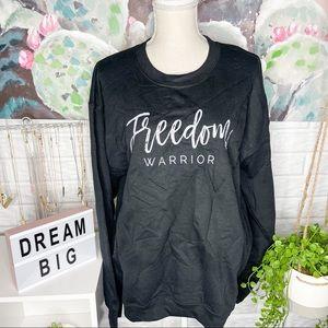 NEW Black Freedom Warrior Graphic Crewneck Sweater